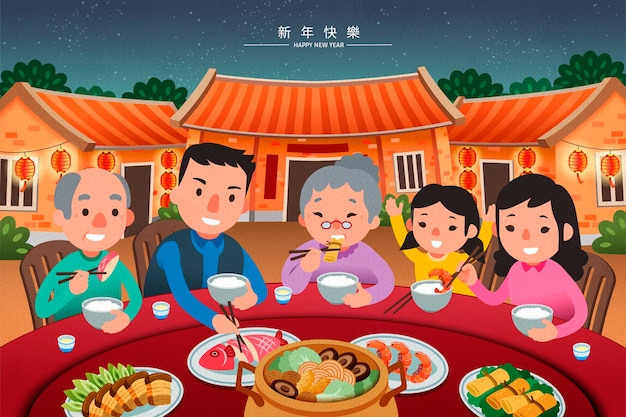 Traditioneel reüniediner met familie in mooie vlakke stijl