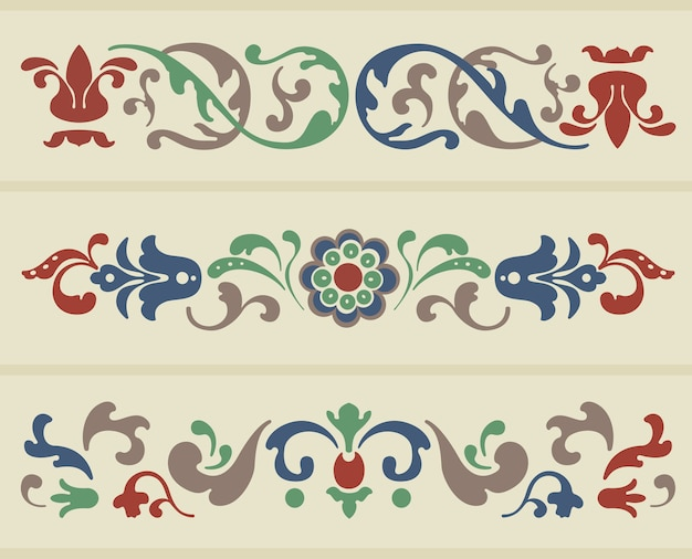 Traditioneel russisch ornament in drie versies in vector
