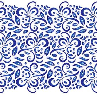 Traditioneel russisch vector naadloos patroon in gzhel-stijl.