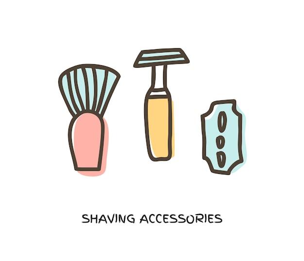Traditioneel stalen scheermes met harige scheerkwast doodle vector pictogram geïsoleerd in wit. barbershop-concept