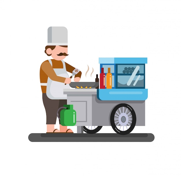 Traditioneel straatvoedsel, man kok en voedselkar, trolley, fastfood, plat karakter