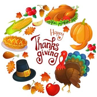Traditioneel thanksgiving-voedsel dat op wit wordt geïsoleerd