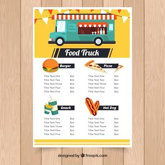 Traditioneel voedsel truck menu met leuke stijl