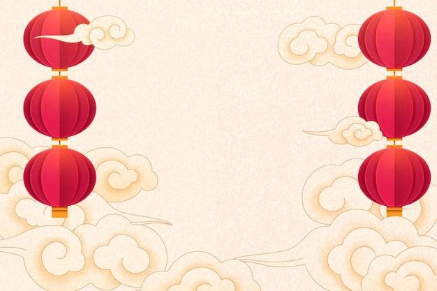 Traditionele achtergrond met hangende rode lantaarns en wolken op beige achtergrond, papier kunststijl