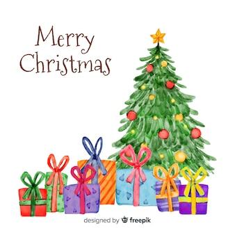 Traditionele aquarel kerstmis achtergrond