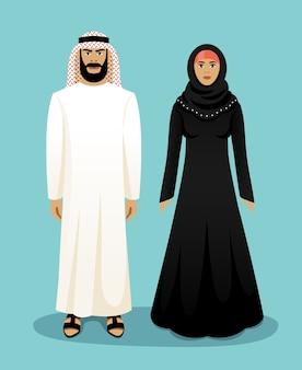 Traditionele arabische kleding. arabische man en arabische vrouw. oost-moslim, cultuur en kleding, vector illustratie