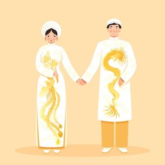 Traditionele aziatische kleding met vrouw en man