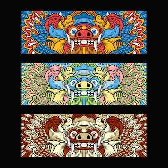 Traditionele balinese barong illustratie