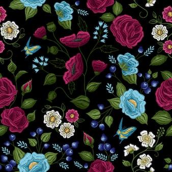 Traditionele bloemen folk stijl borduurwerk naadloze patroon