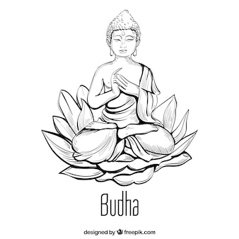 Traditionele budha met hand getrokken stijl