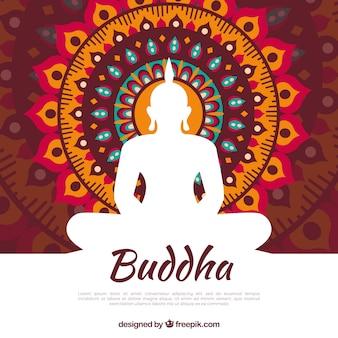 Traditionele budha met plat ontwerp