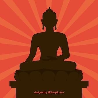 Traditionele budha met silhouetontwerp