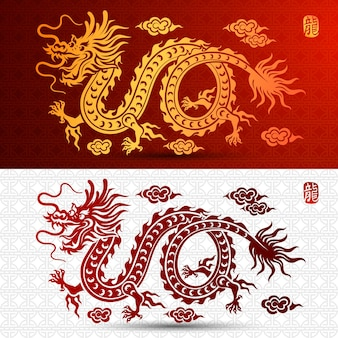 Traditionele chinese draak illustratie