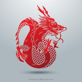 Traditionele chinese draak met silhouetontwerp