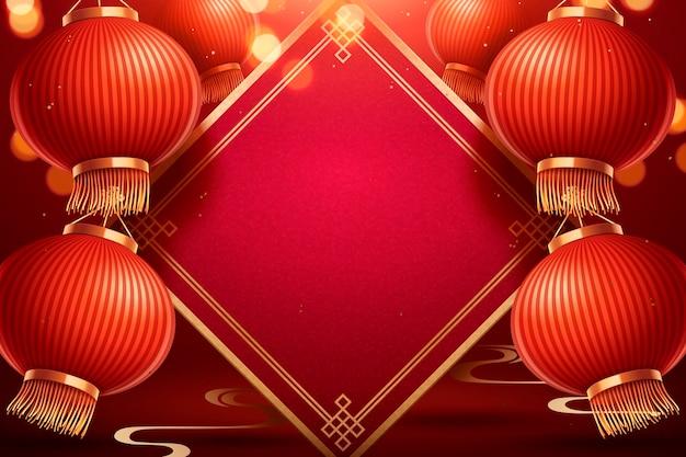 Traditionele chinese maannieuwjaarsachtergrond met blanco lente couplet en rode papieren lantaarns