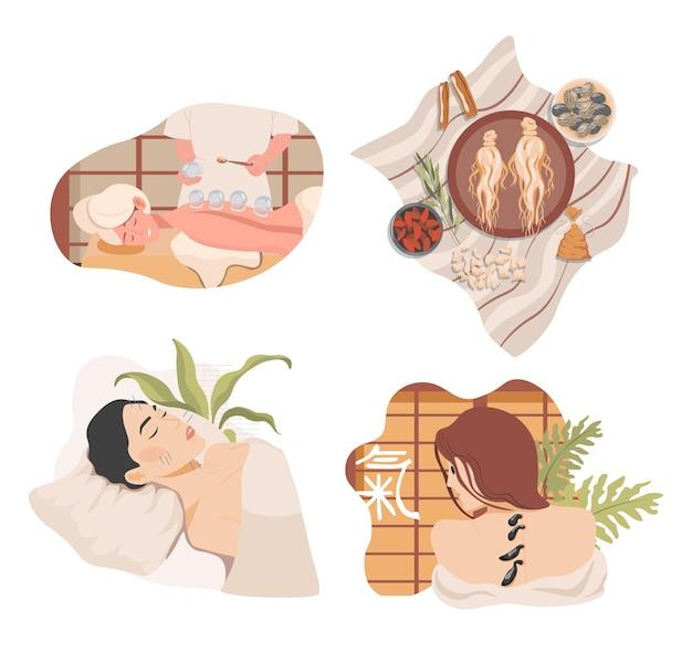 Traditionele chinese of oosterse alternatieve geneeskunde vector vlakke afbeelding ginseng