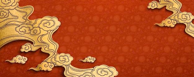 Traditionele chinese rode achtergrond in papierkunststijl met gouden wolkenelement