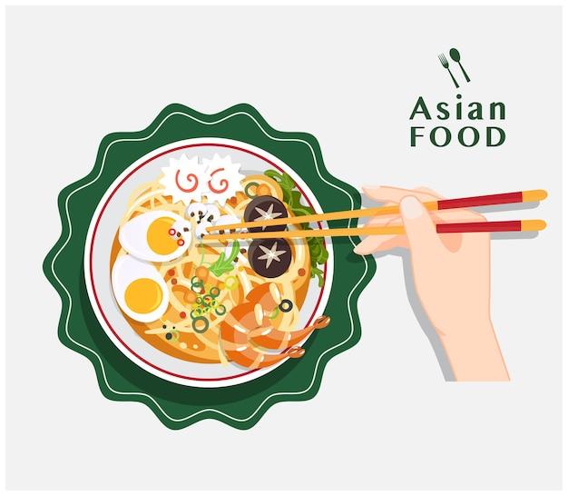 Traditionele chinese soep met noedels, noedelsoep in chinees kom aziatisch voedsel