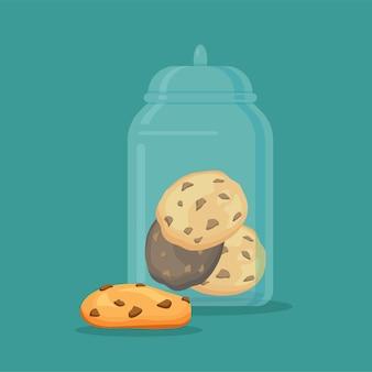 Traditionele chip cookies met chocolade in de glazen pot