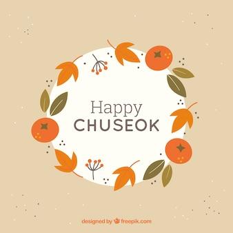 Traditionele chuseok-compositie met plat ontwerp