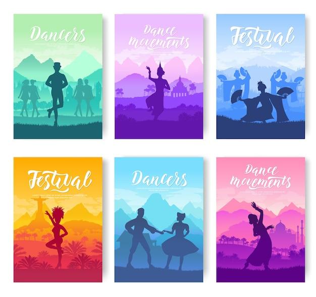 Traditionele dansen van over de hele wereld kaarten. culturele danserestijlen sjabloon van flyear, poster.