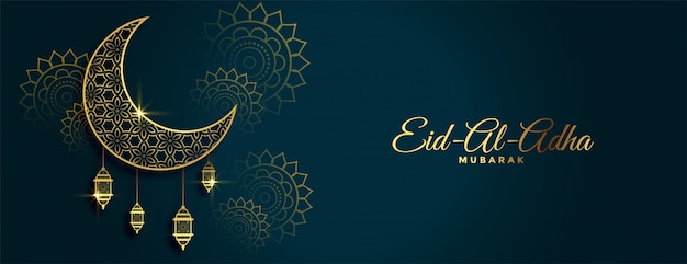 Traditionele eid al adha festival gouden banner