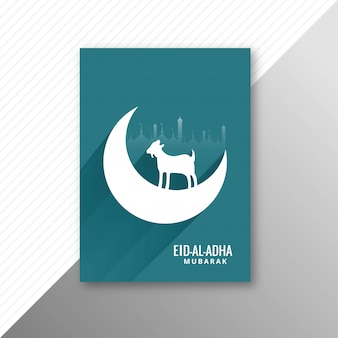 Traditionele eid al adha mubarak met geitenbrochureontwerp
