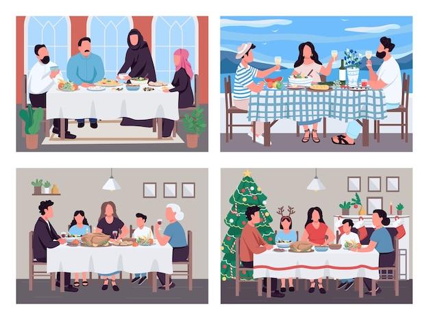Traditionele familiediners egale kleur illustratie set