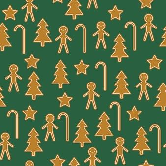 Traditionele gebakken kerstkoekjes. vector naadloos patroon
