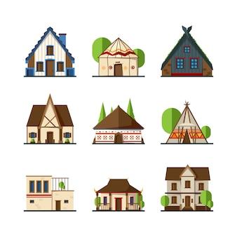 Traditionele gebouwen. huizen en constructies van verschillende landen europa aziatische indische afrikaanse tenten