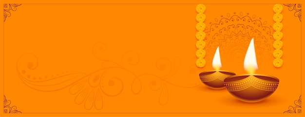 Traditionele gelukkige diwali festival diya met tekstruimte
