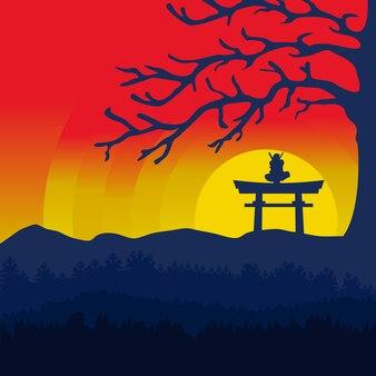 Traditionele handgetekende ninja krijger achtergrond