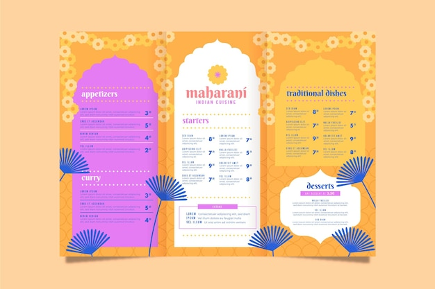 Traditionele indiase menusjabloon