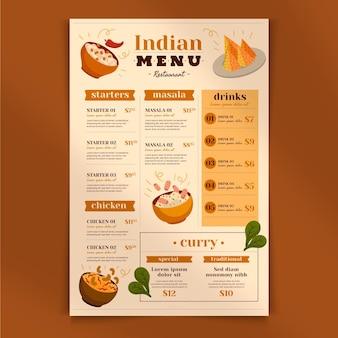 Traditionele indiase menusjabloon Gratis Vector