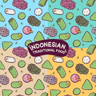 Traditionele indonesische eten naadloze patroon achtergrond