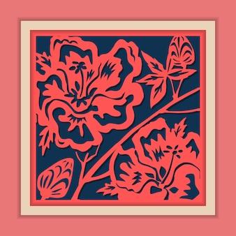 Traditionele ingelijste chinese papiersnijkunst, klassiek blauw en roze.