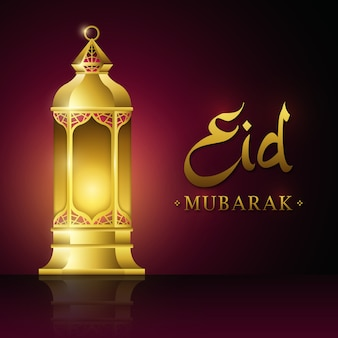 Traditionele islamitische gouden lamp ramadan kareem, eid mubarak design achtergrond.