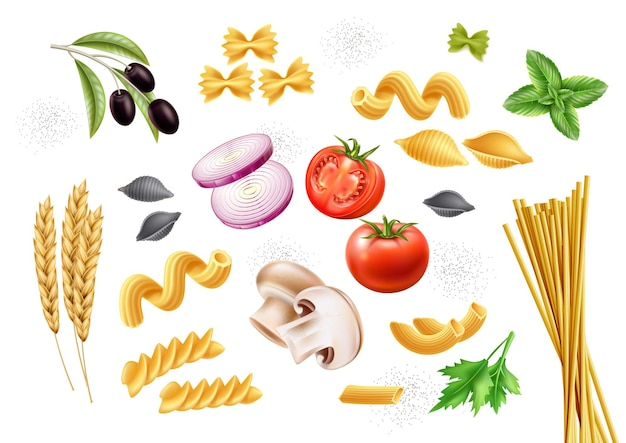 Traditionele italiaanse pastasoorten en ingrediënten basilicum bladeren tomaat champignon ui olijf