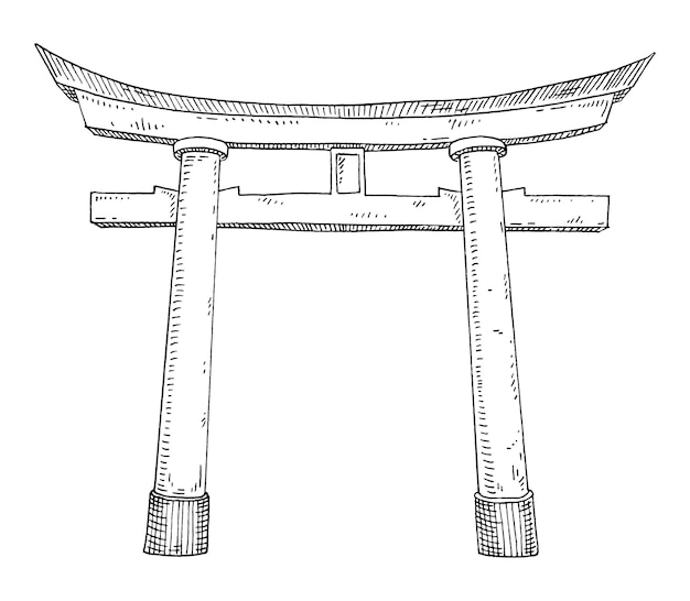 Traditionele japanse japanse torii-poort. vintage uitbroeden zwart-wit zwarte illustratie