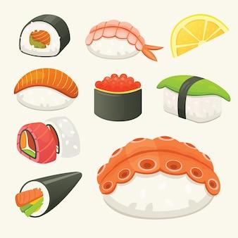 Traditionele japanse sushi en broodjes. aziatische zeevruchten, heerlijk restaurant.