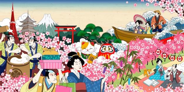 Traditionele japanse vrolijke bloesem-kijkscène in ukiyo-e-stijl