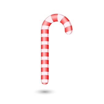 Traditionele kerst candy cane op witte achtergrond. vector illustratie. bovenaanzicht op pictogram. sjabloon voor wenskaart op kerstmis en nieuwjaar.