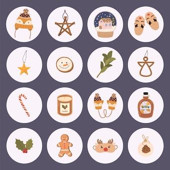 Traditionele kerstelementen in cartoon-stijl. groot pictogram ingesteld voor kerstmis.