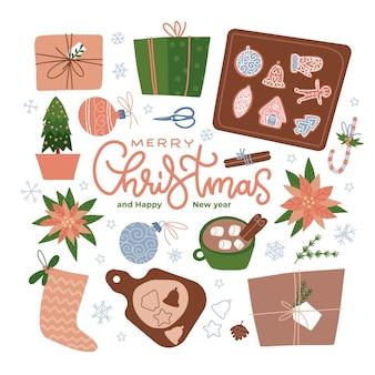 Traditionele kersttraktatie en wintervakantiedessert met snoepriet en peperkoekkoekjesset pr ...