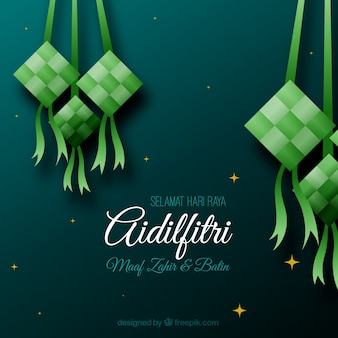 Traditionele ketupat-samenstelling met plat deisgn