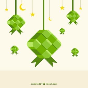Traditionele ketupat-samenstelling met plat ontwerp