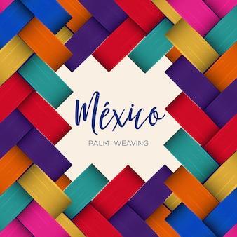Traditionele kleurrijke mexicaanse gevectoriseerde palm weven samenstelling - kopie ruimte