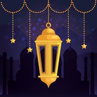 Traditionele lamp en sterren die met kasteel hangen