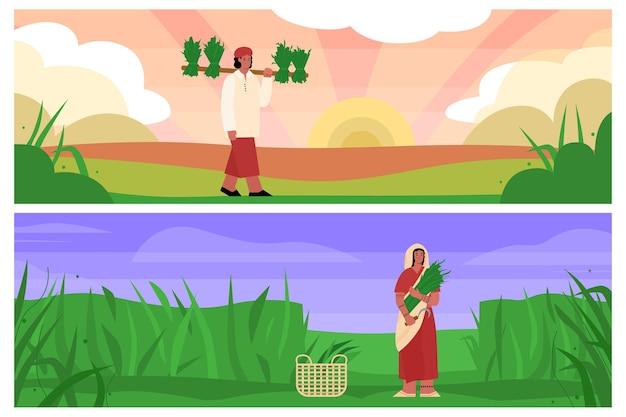 Traditionele landbouw of landelijke boerderij met werkende indiase boeren en vectorbanners
