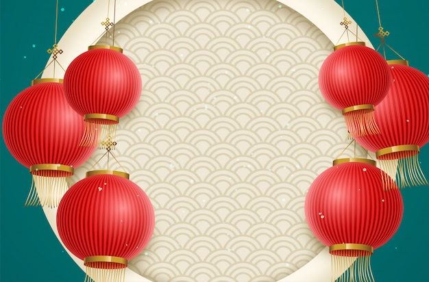 Traditionele maanjaarachtergrond met hangende lantaarns. chinese vertaling gelukkig nieuwjaar